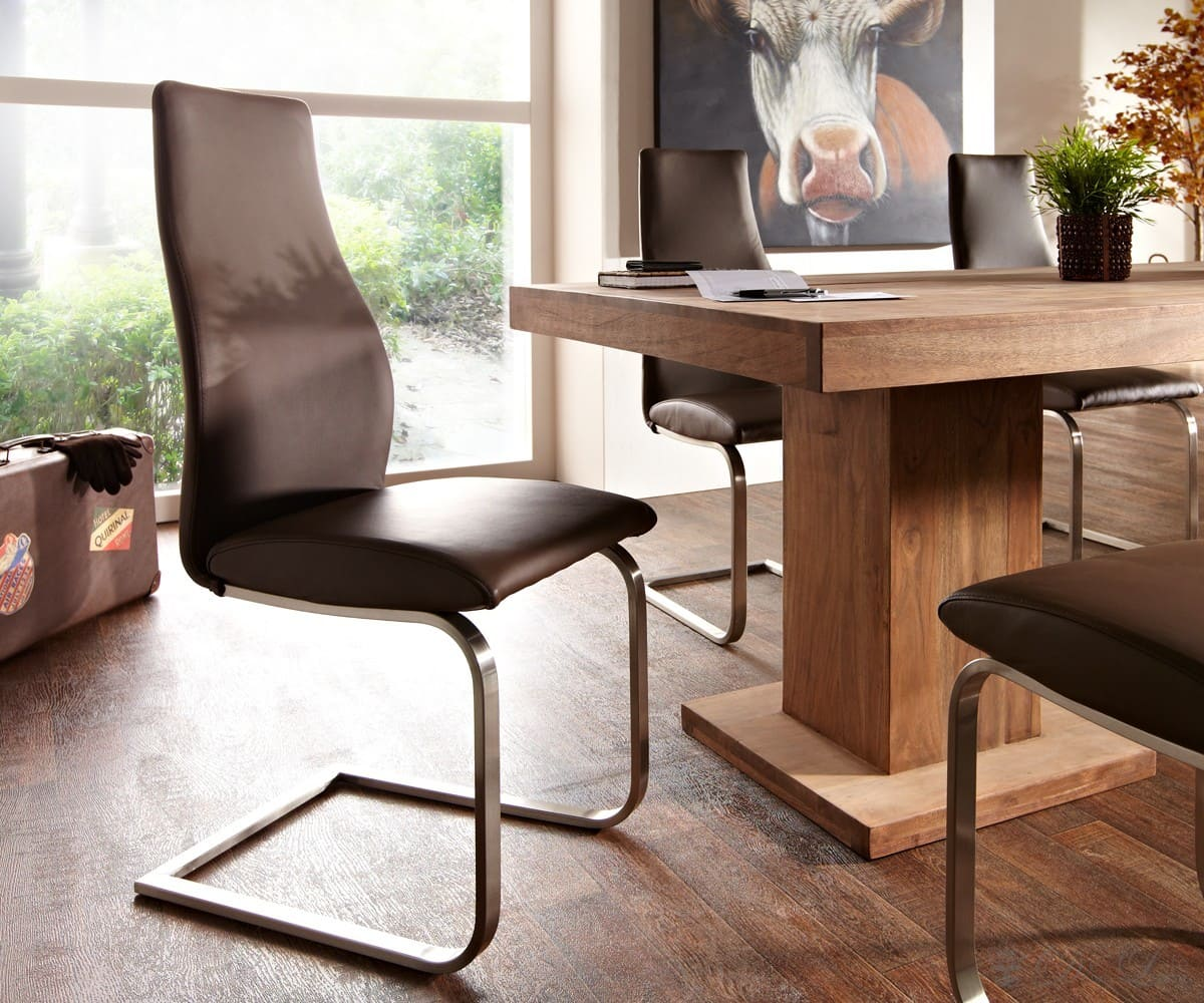 freischwinger zahit braun echtleder edelstahl. Black Bedroom Furniture Sets. Home Design Ideas