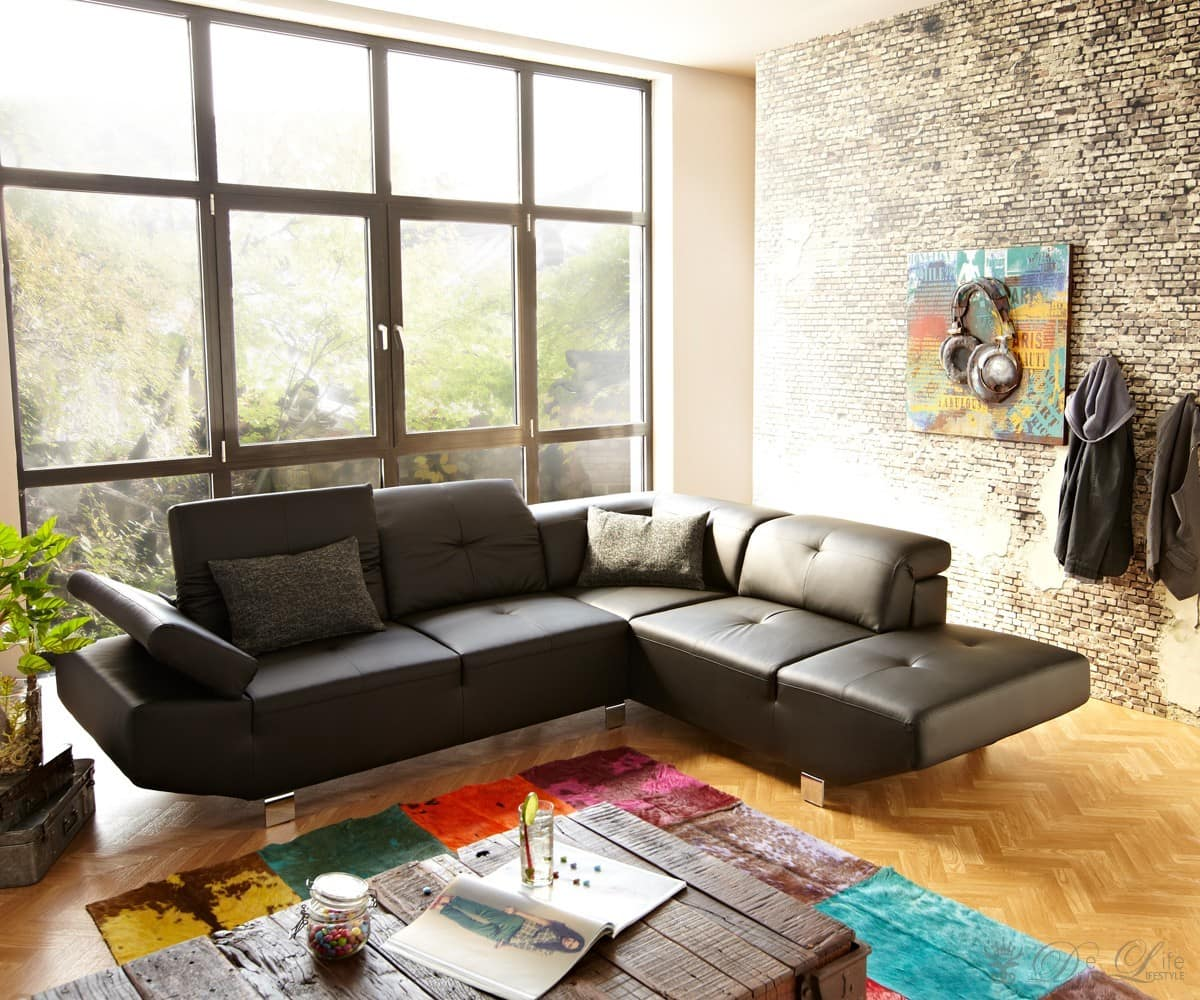 Wohnlandschaft verstellbare rückenlehne  Ecksofa Piacenza 265x230cm Schwarz Couch verstellbare Rückenlehne ...