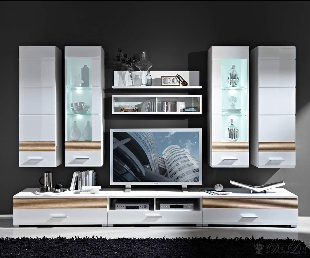 delife wohnwand gibson 300cm weiss sonoma eiche anbauwand. Black Bedroom Furniture Sets. Home Design Ideas