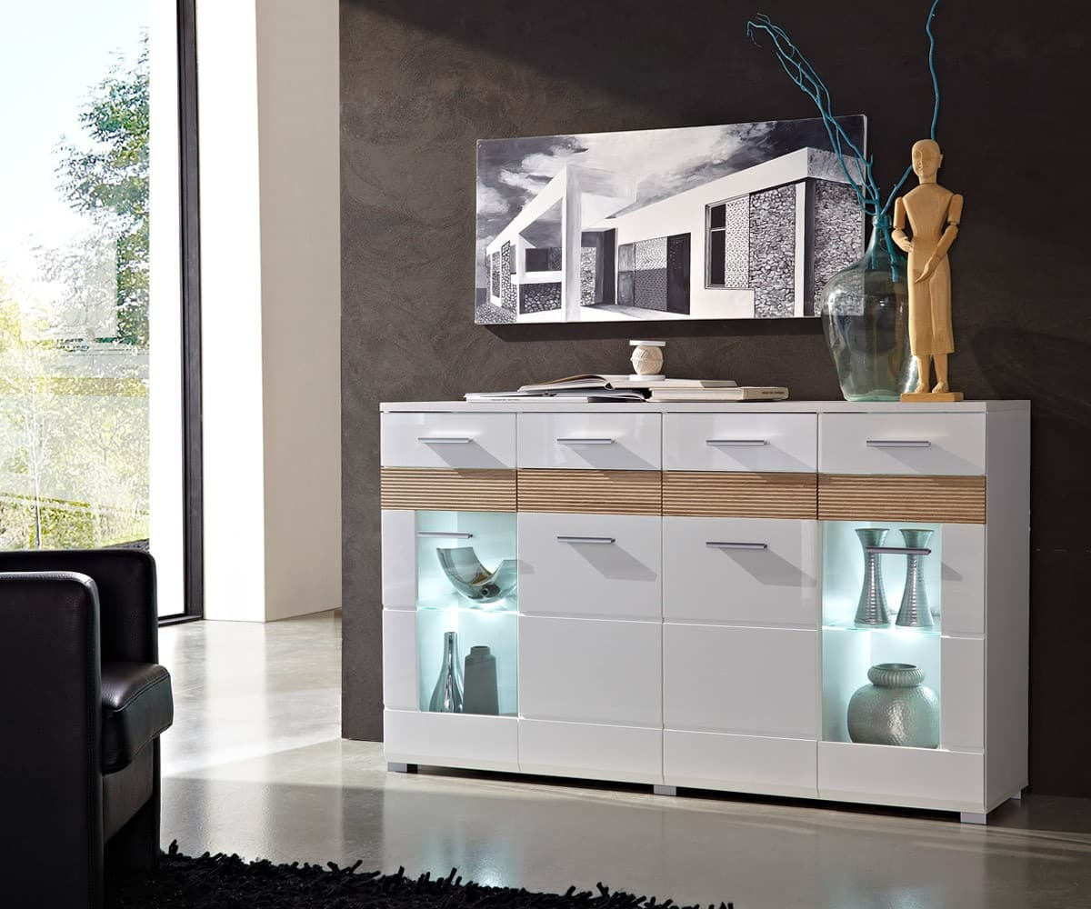 sideboard gibson 160x100cm weiss sonoma eiche kommode mit beleuchtung schrank ebay. Black Bedroom Furniture Sets. Home Design Ideas