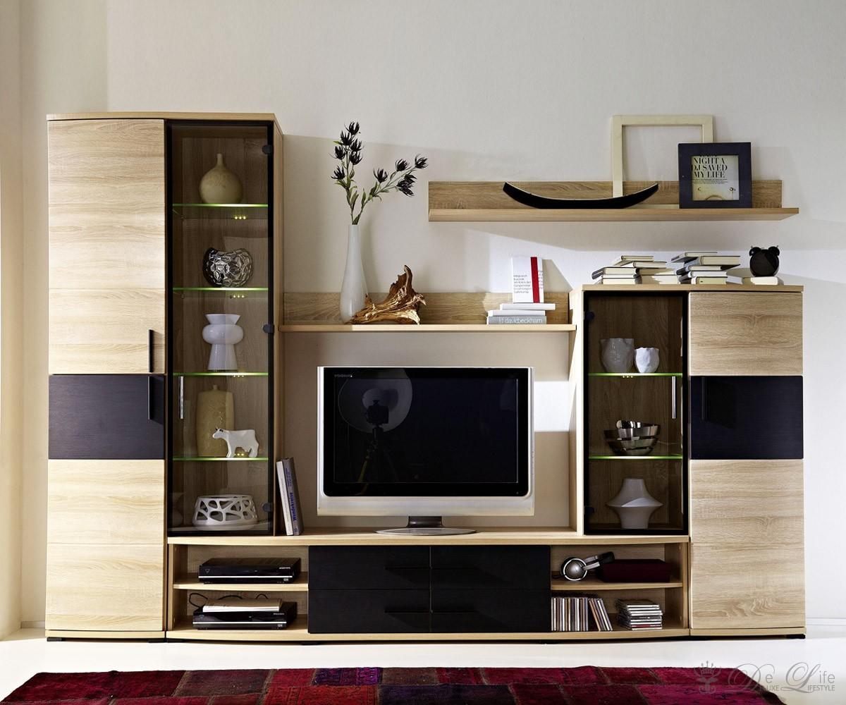 wohnwand pedro 285cm sonoma eiche schwarz anbauwand mit. Black Bedroom Furniture Sets. Home Design Ideas