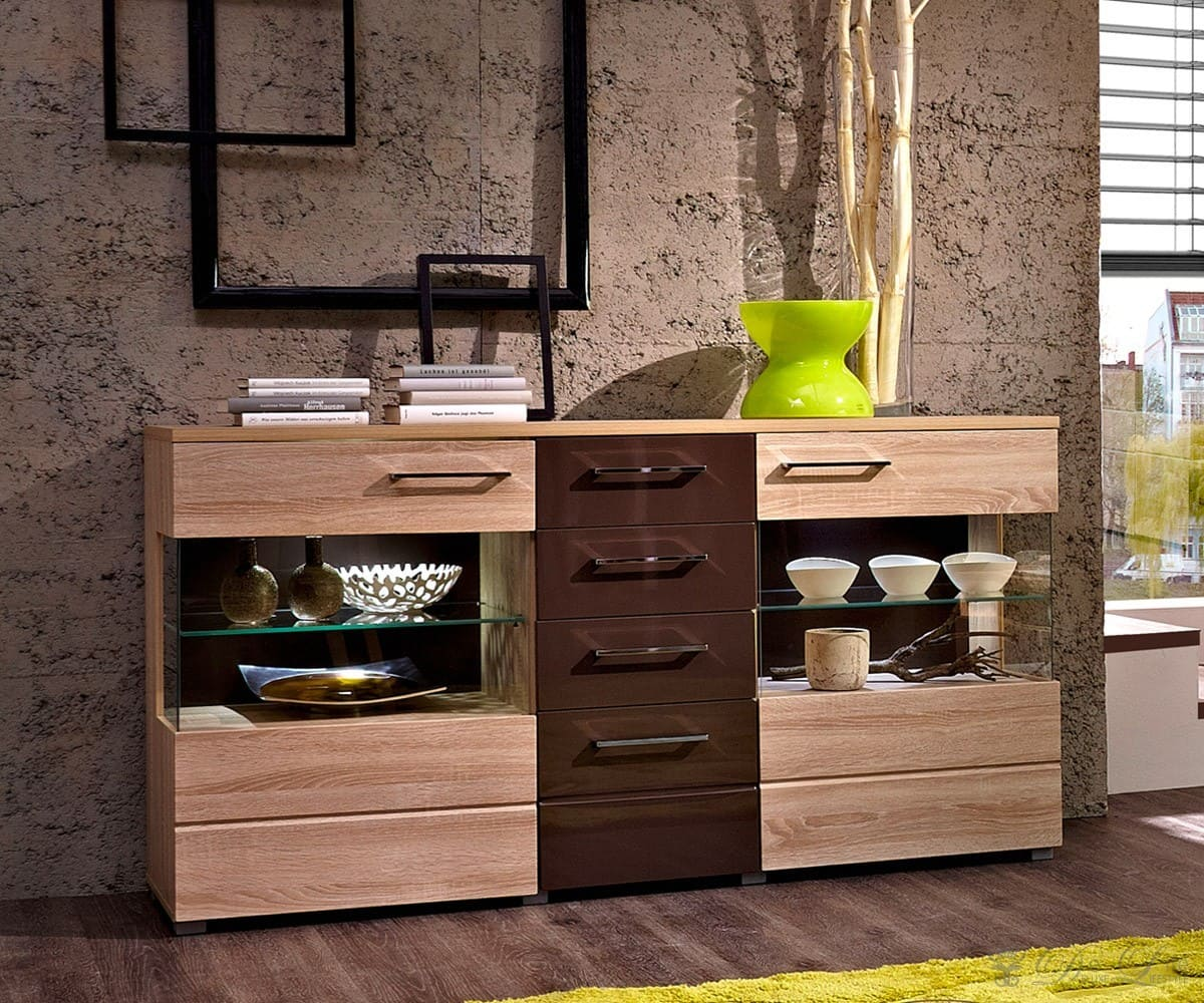 sideboard addison 160x85cm sonoma eiche braun kommode mit beleuchtung schrank ebay. Black Bedroom Furniture Sets. Home Design Ideas