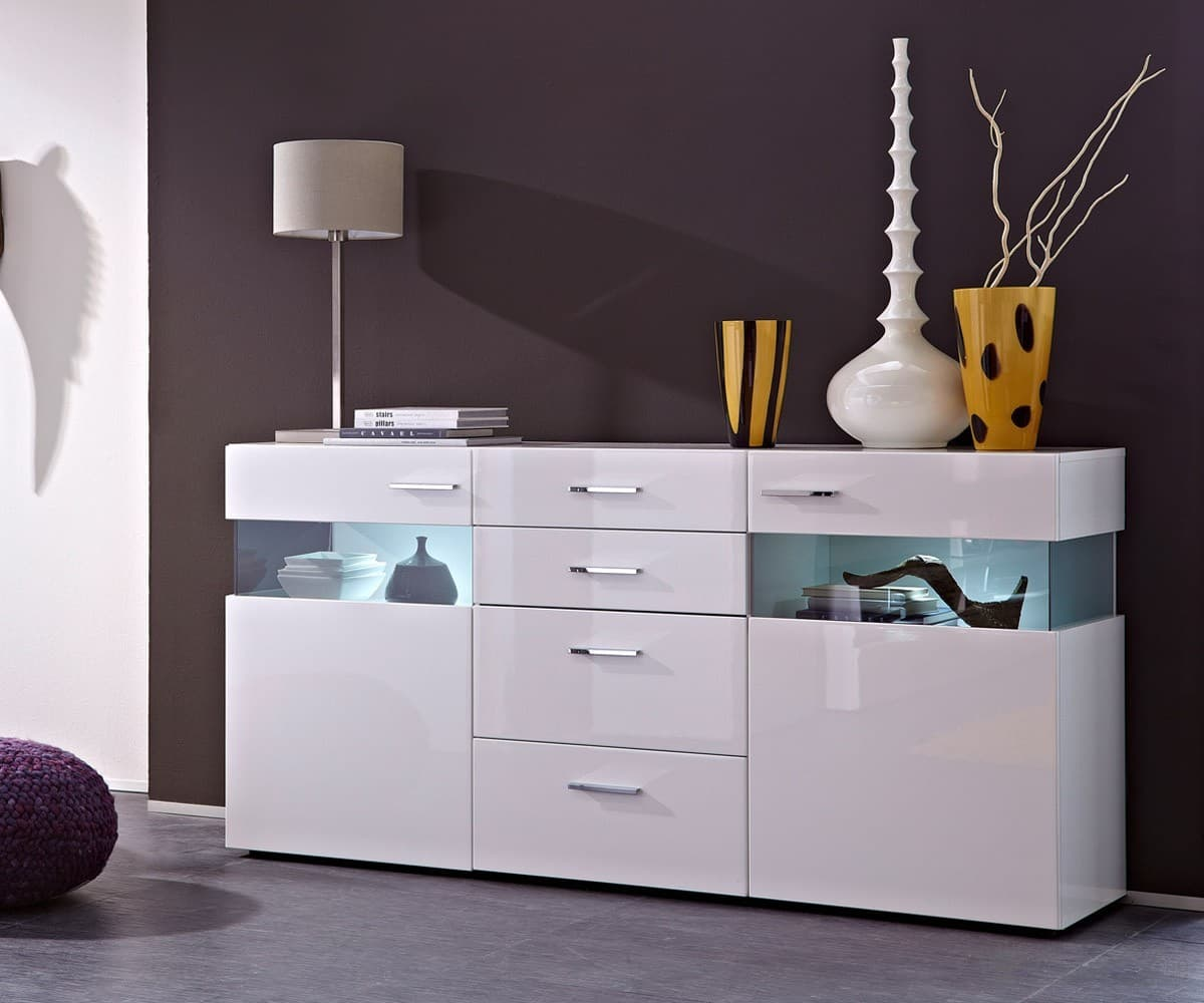 kommode riverside hochglanz weiss 180x88cm sideboard mit beleuchtung ebay. Black Bedroom Furniture Sets. Home Design Ideas