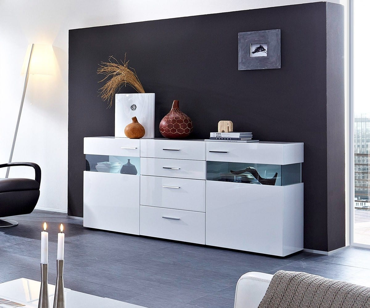 sideboard wei hochglanz glas. Black Bedroom Furniture Sets. Home Design Ideas