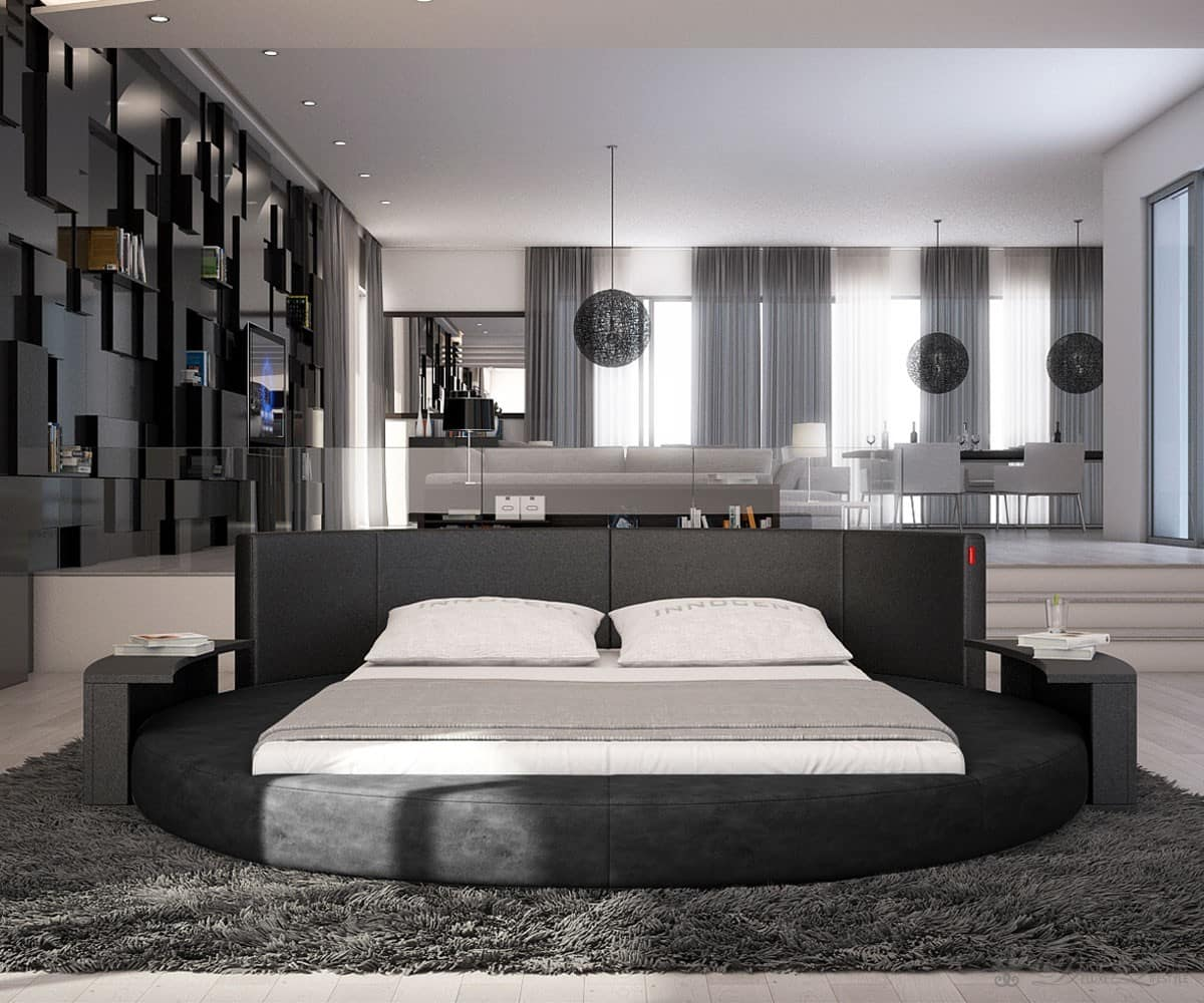 polsterbett asis schwarz 180x200 cm rundbett 180 cm. Black Bedroom Furniture Sets. Home Design Ideas