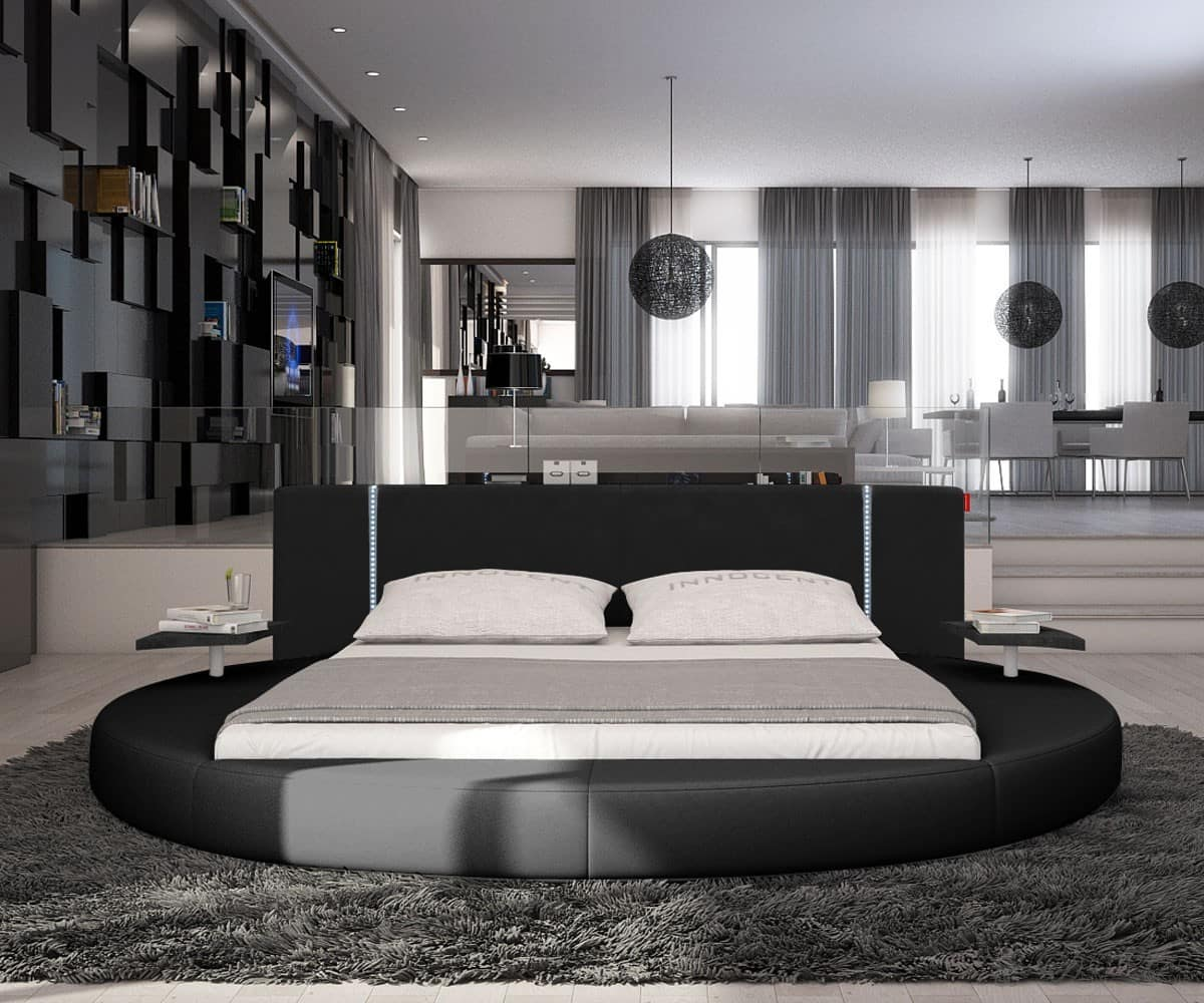 rundbett akil 180x200 schwarz polsterbett 180cm mit. Black Bedroom Furniture Sets. Home Design Ideas