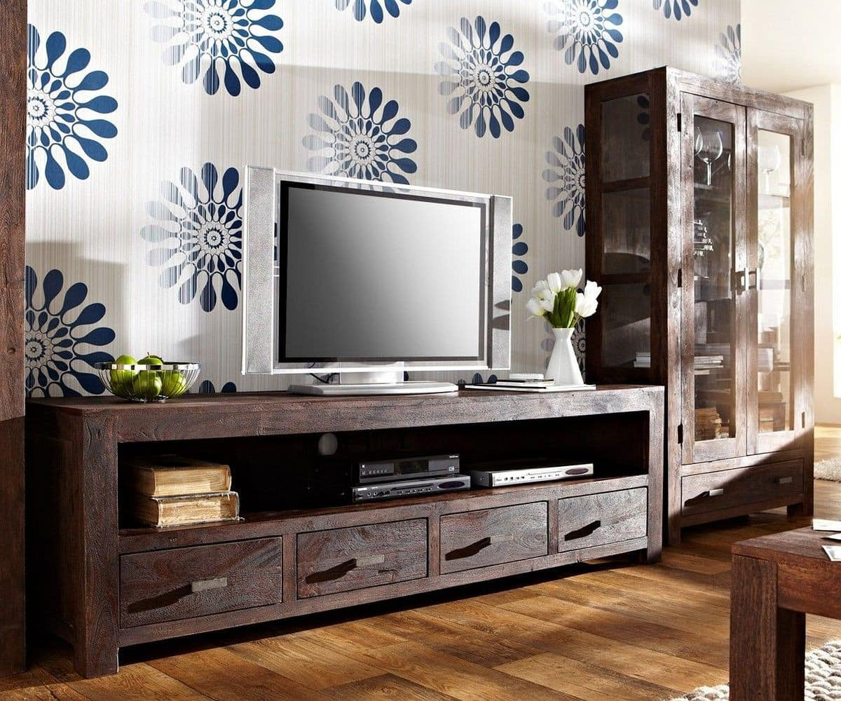 lowboard guru 200x55 akazie tabak 4 schubladen by wolf. Black Bedroom Furniture Sets. Home Design Ideas