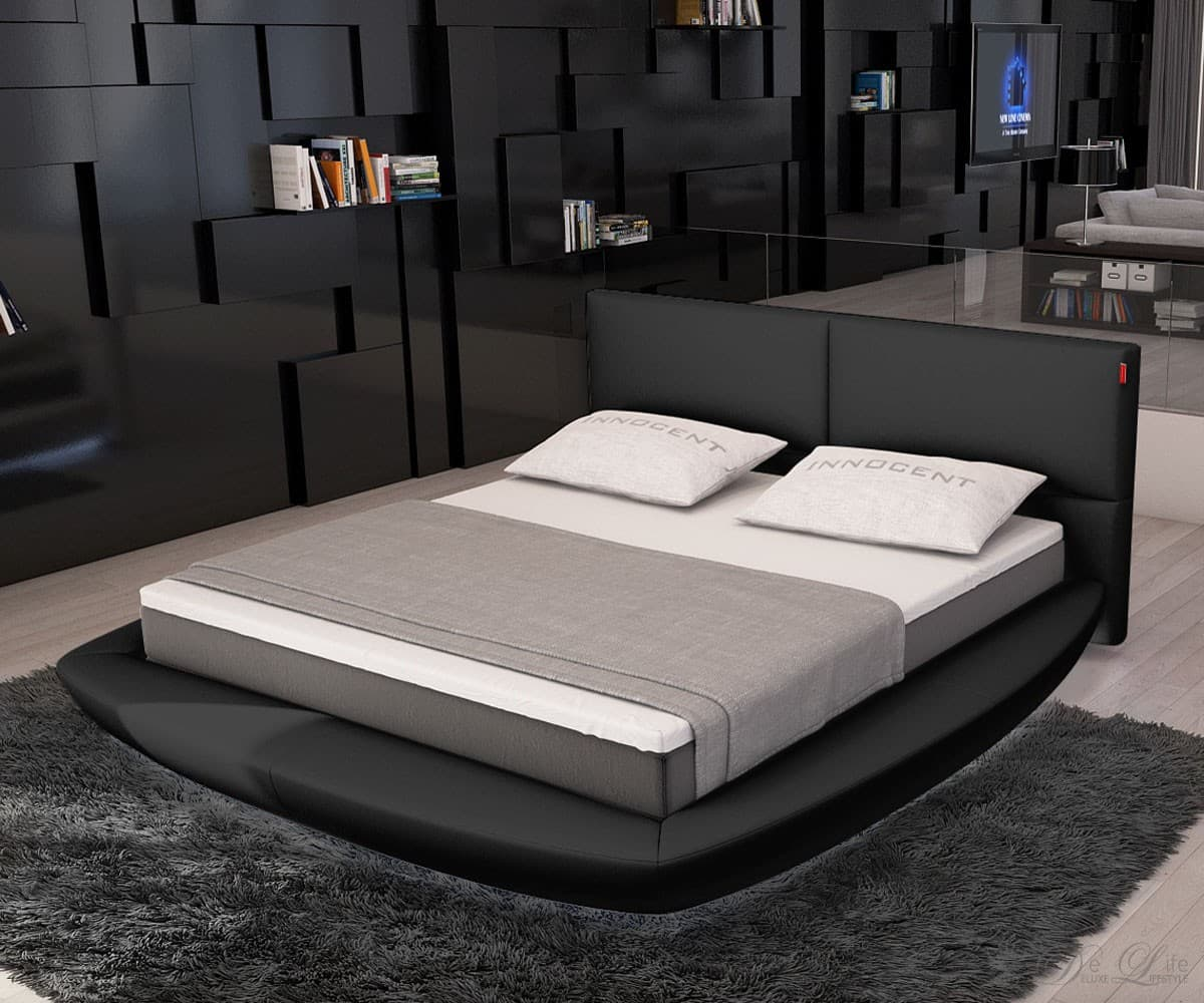 design bett amon schwarz 180x200 cm polsterbett 180 cm ebay. Black Bedroom Furniture Sets. Home Design Ideas