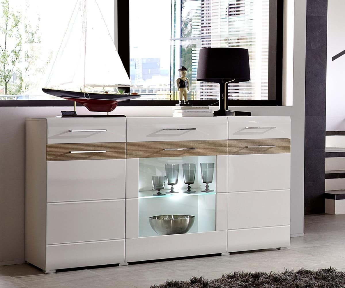 sideboard thamos 155x90cm weiss sonoma eiche kommode mit beleuchtung schrank neu ebay. Black Bedroom Furniture Sets. Home Design Ideas