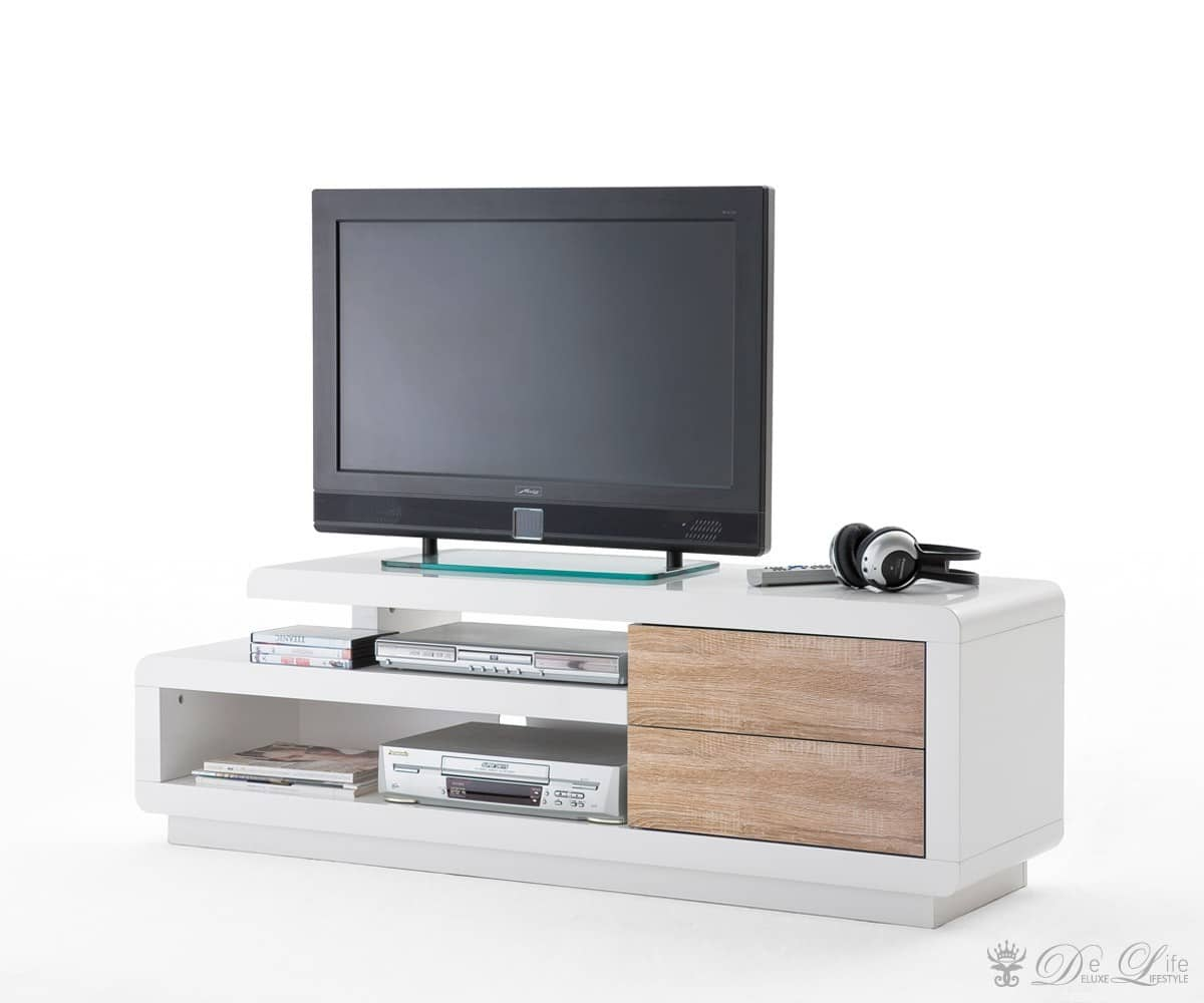 tv board ferrara 142x40 cm weiss sonoma eiche tv rack 2 sch be tv tisch lowboard ebay. Black Bedroom Furniture Sets. Home Design Ideas
