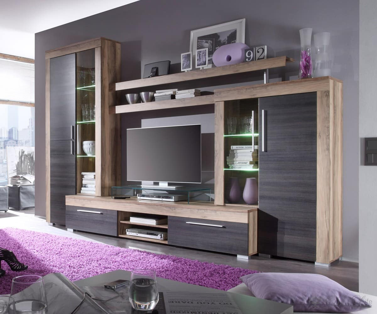 anbauwand cima nussbaum satin 308 cm wohnwand mit beleuchtung ebay. Black Bedroom Furniture Sets. Home Design Ideas