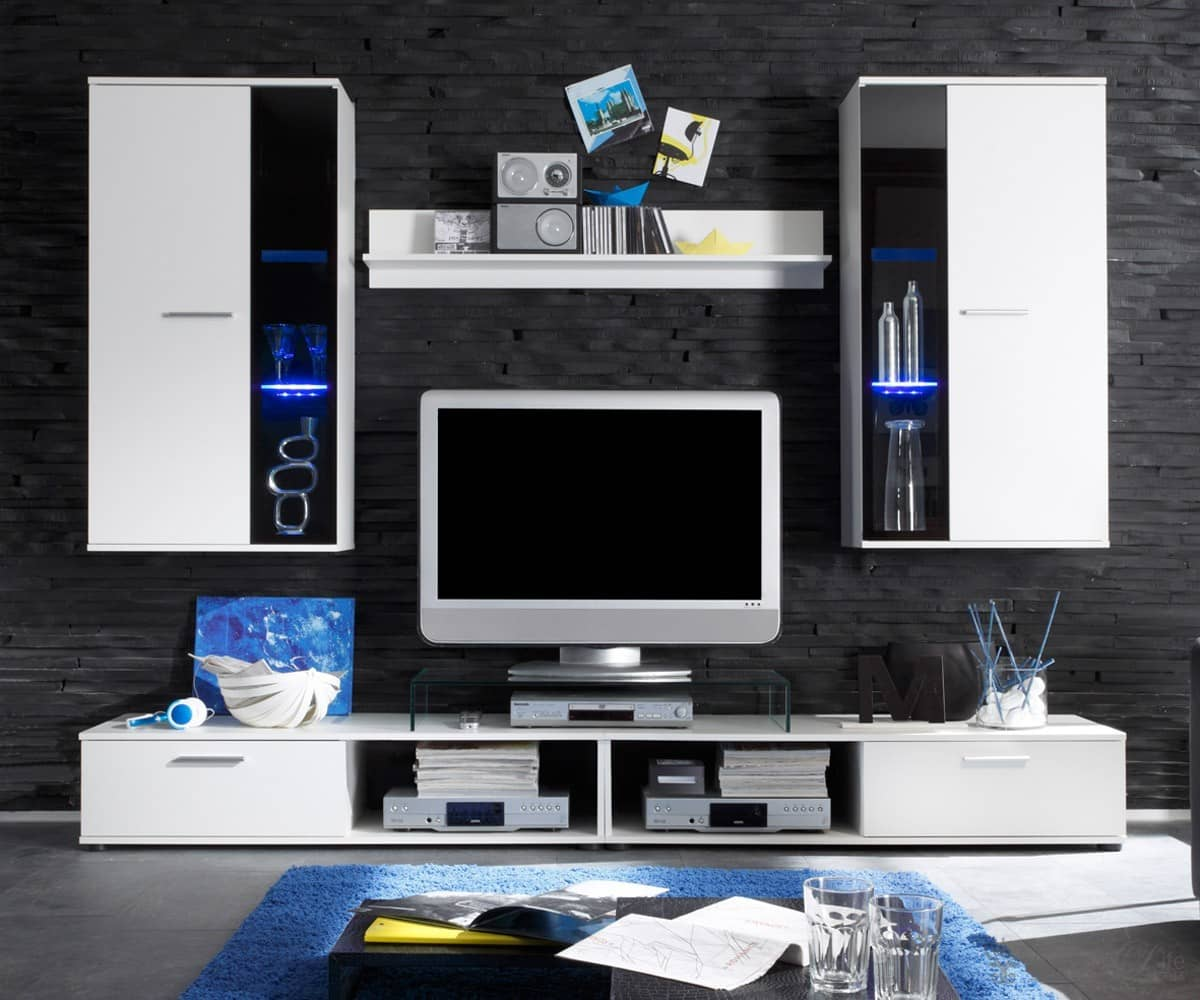 wohnwand charming 230 cm weiss anbauwand mit beleuchtung. Black Bedroom Furniture Sets. Home Design Ideas