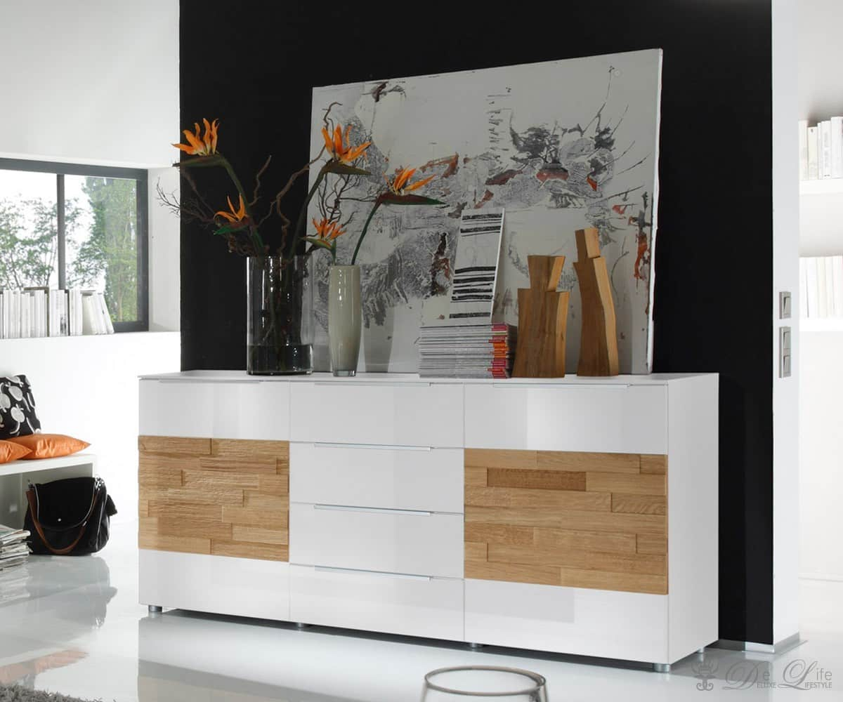 kommode elion weiss eiche hell 180x82cm sideboard 4. Black Bedroom Furniture Sets. Home Design Ideas