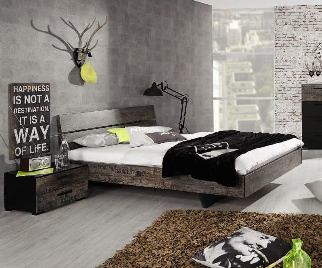 bett franklin 180x200 cm vintage optik braun futonbett 180. Black Bedroom Furniture Sets. Home Design Ideas