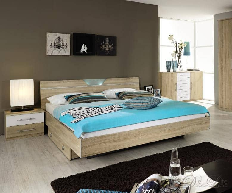 bett verena 180x200 sonoma eiche weiss futonbett mit. Black Bedroom Furniture Sets. Home Design Ideas