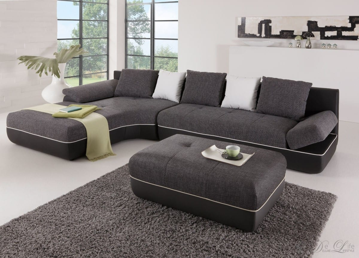 ecksofa felipa 355x210 schwarz couch mit schlaffunktion ottomane links sofa neu ebay. Black Bedroom Furniture Sets. Home Design Ideas