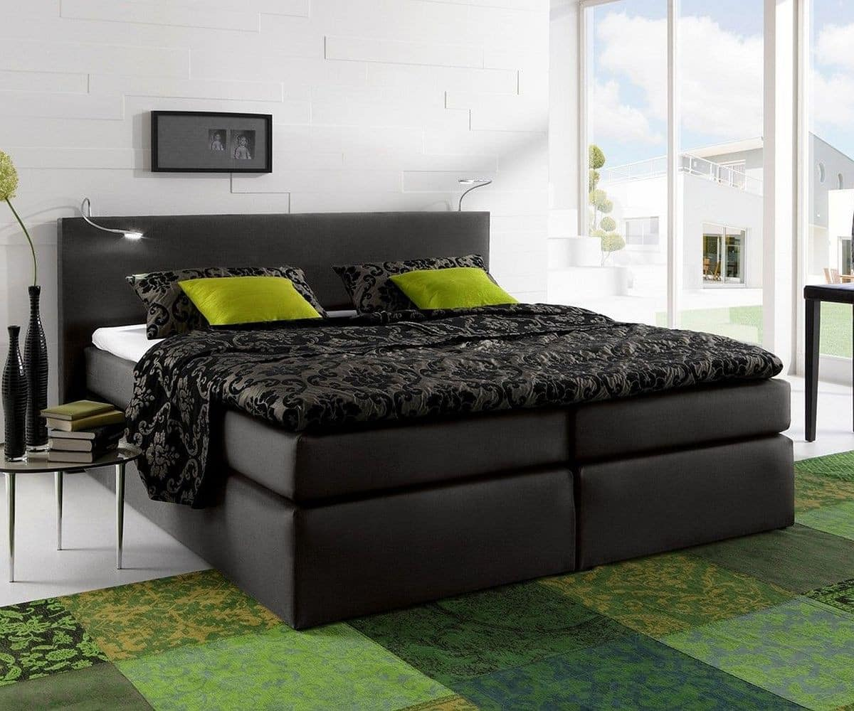 boxspringbett alan 180x200 schwarz matratze und topper. Black Bedroom Furniture Sets. Home Design Ideas