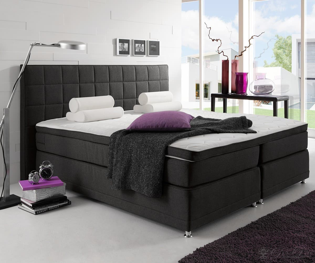 boxspringbett hattan 140x200 schwarz bett mit matratze und topper doppelbett neu ebay. Black Bedroom Furniture Sets. Home Design Ideas