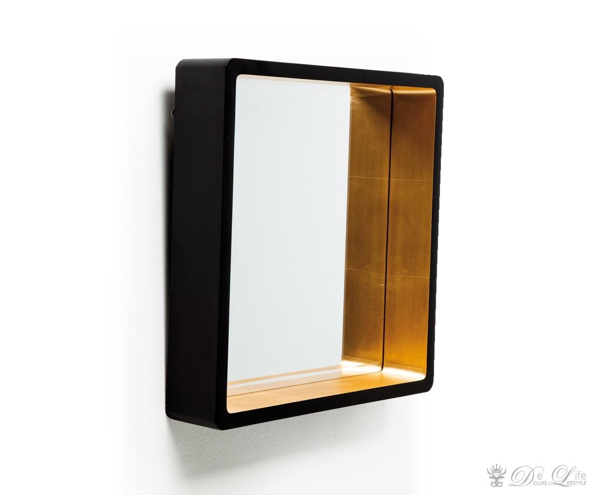 spiegel cubo duo 44x44 cm schwarz goldfarben wandspiegel. Black Bedroom Furniture Sets. Home Design Ideas