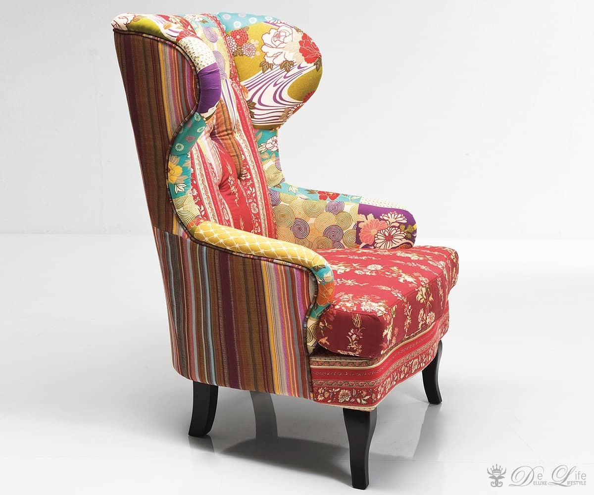 Ohrensessel Patchwork Red Bunt Lounge Sessel by Kare Bild 2
