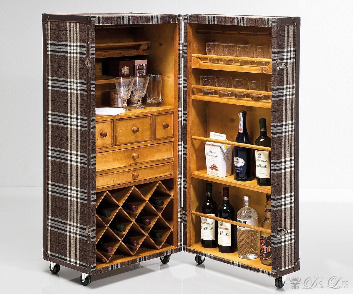 weinschrank highlands 52x118cm braun kariert weinregal weinflaschenregal by kare ebay. Black Bedroom Furniture Sets. Home Design Ideas
