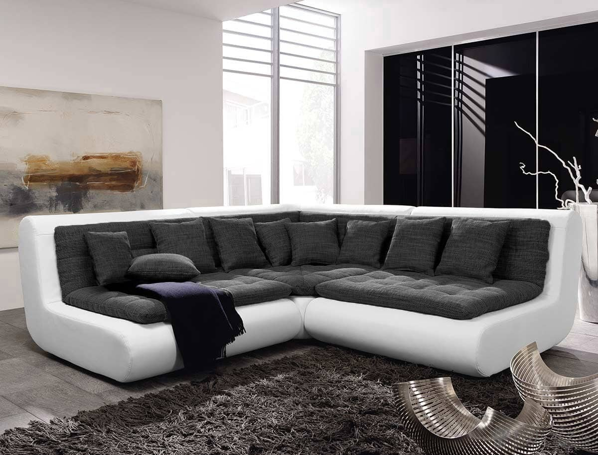 couch exit 300x300 weiss anthrazit ecksofa mit kissen couchgarnitur design sofa ebay. Black Bedroom Furniture Sets. Home Design Ideas