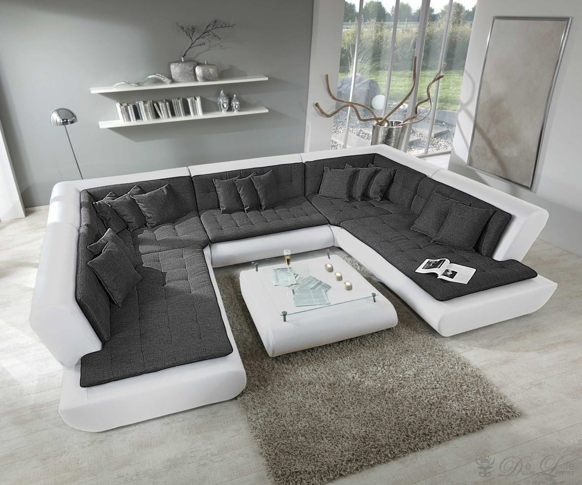 wohnlandschaft exit 385x300 cm weiss anthrazit sofa inkl. Black Bedroom Furniture Sets. Home Design Ideas