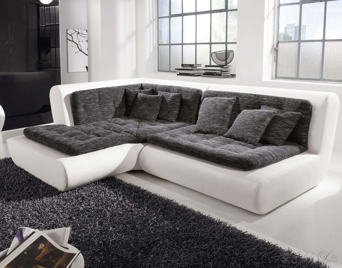 sofa exit 295x200 cm weiss anthrazit couch ottomane links. Black Bedroom Furniture Sets. Home Design Ideas