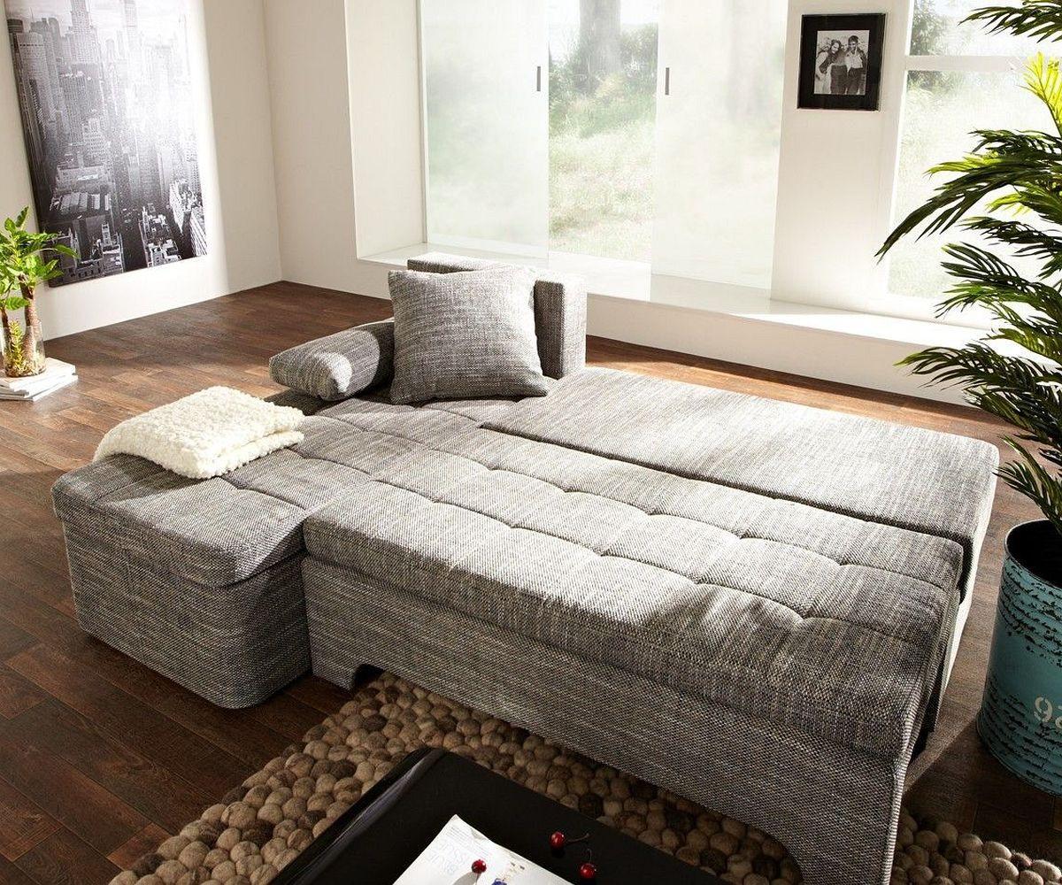 ecksofa juline 200x155 grau mit schlaffunktion variabel. Black Bedroom Furniture Sets. Home Design Ideas