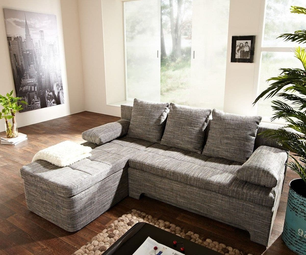 ecksofa juline 200x155 grau mit schlaffunktion variabel m bel sofas ecksofas. Black Bedroom Furniture Sets. Home Design Ideas