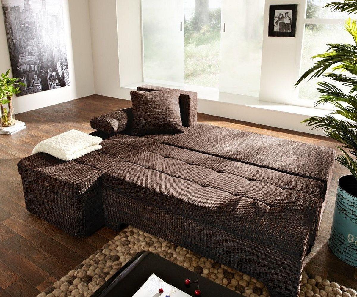 eckcouch mit schlaffunktion braun. Black Bedroom Furniture Sets. Home Design Ideas