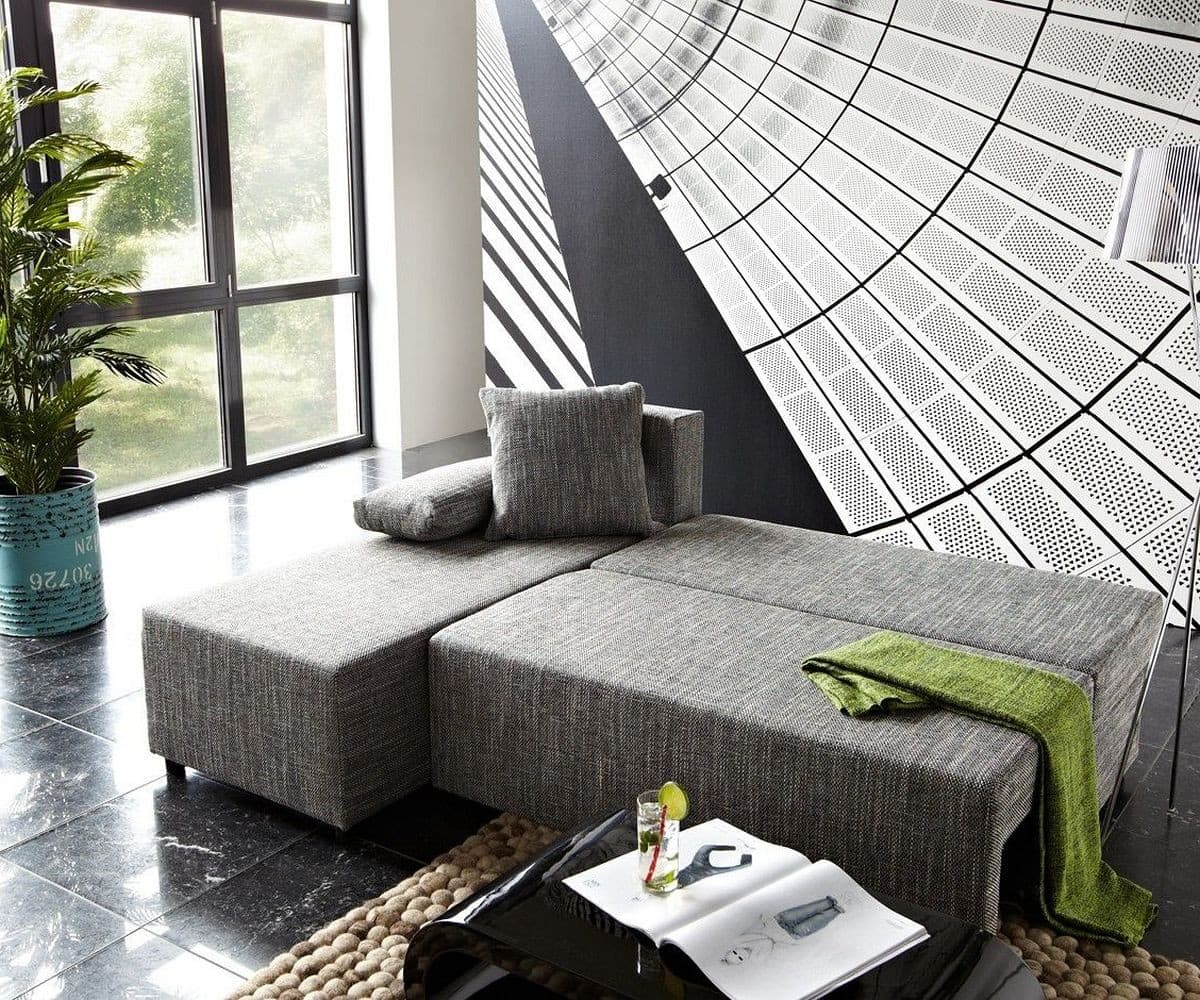ecksofa janelle 200x155 grau mit schlaffunktion variabel m bel sofas ecksofas. Black Bedroom Furniture Sets. Home Design Ideas
