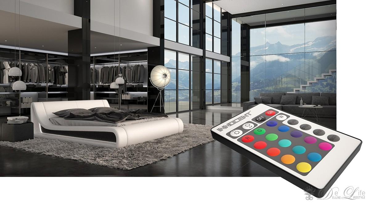 polsterbett warwara 180x200 cm weiss bett mit beleuchtung design bett doppelbett ebay. Black Bedroom Furniture Sets. Home Design Ideas