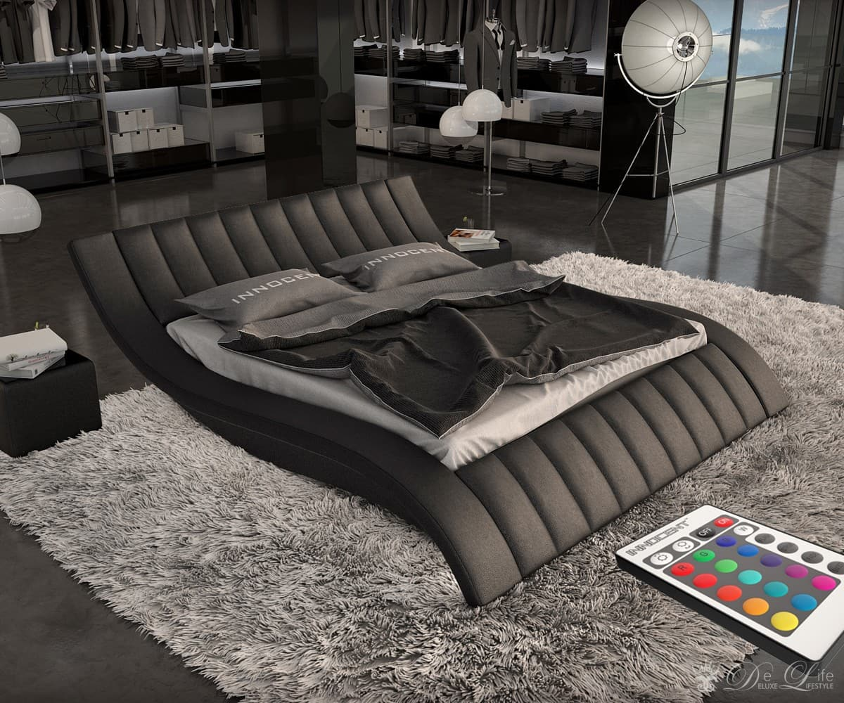 polsterbett katka 180x200 cm schwarz design bett mit. Black Bedroom Furniture Sets. Home Design Ideas