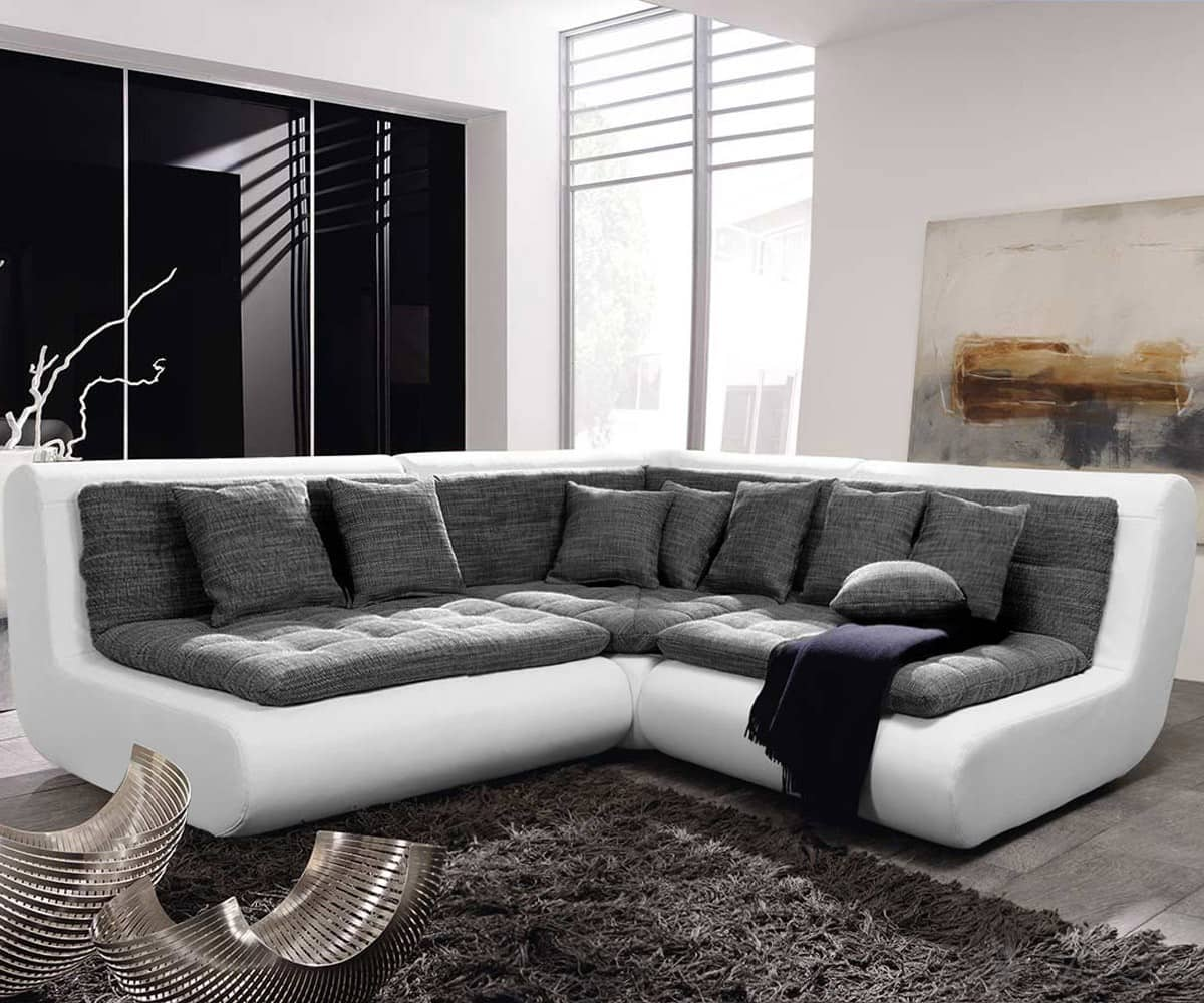 couch exit 300x240 cm weiss anthrazit ecksofa inkl kissen. Black Bedroom Furniture Sets. Home Design Ideas