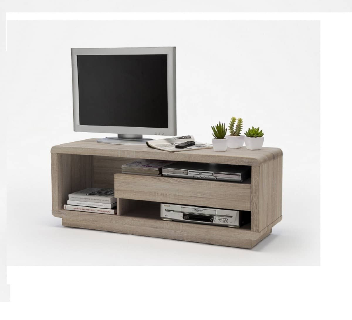tv board tristan 120x45 cm sonoma eiche tv rack 1 schubkasten longboard lowboard ebay. Black Bedroom Furniture Sets. Home Design Ideas