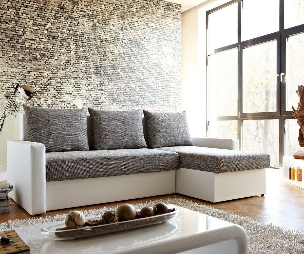 delife couch avondi weiss grau 220x147 mit bettkasten. Black Bedroom Furniture Sets. Home Design Ideas
