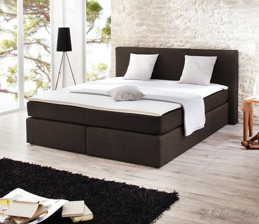 boxspringbett tsavor 180x200 cm braun bett mit matratze doppelbett design bett ebay. Black Bedroom Furniture Sets. Home Design Ideas