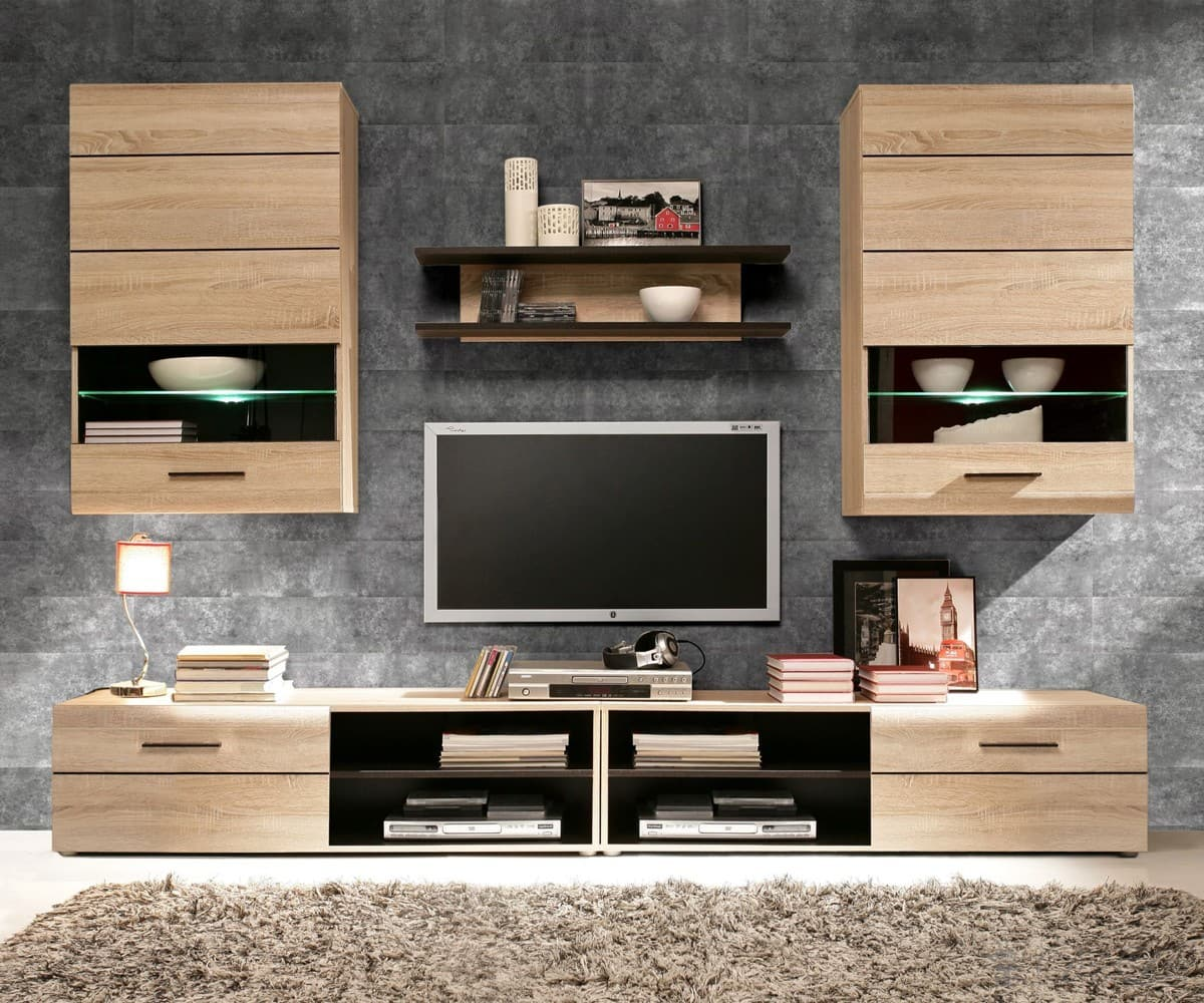 wohnwand echtholz eiche wohnwand schrankwand weiss hochglanz lack eiche italia day wohnwand. Black Bedroom Furniture Sets. Home Design Ideas