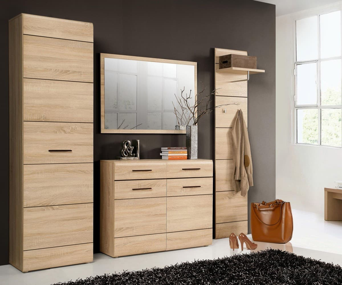 garderobe masetto 225 cm eiche dekor dielenm bel mit spiegel garderobenm bel neu ebay. Black Bedroom Furniture Sets. Home Design Ideas