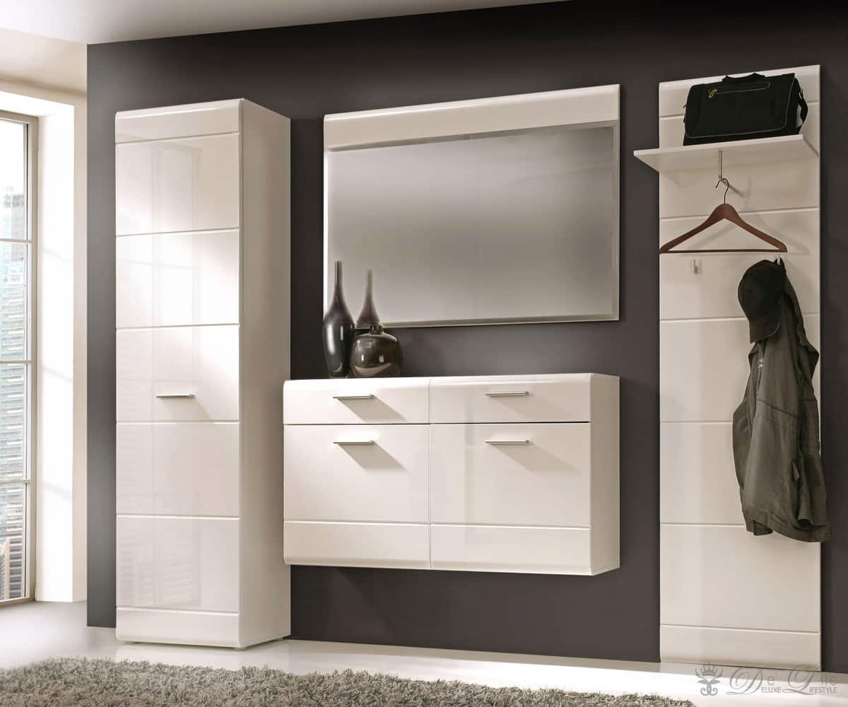 garderobe alexia 260 cm weiss hochglanz dielenm bel mit spiegel garderobenm bel ebay. Black Bedroom Furniture Sets. Home Design Ideas