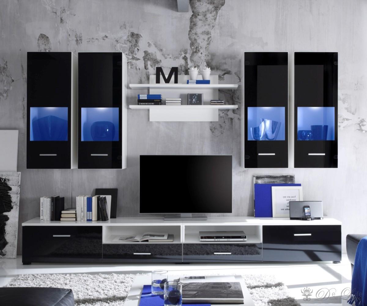 Wohnwand weiß schwarz hochglanz  Wohnzimmerschränke Günstig: Wohnwände günstige wohnwand online ...