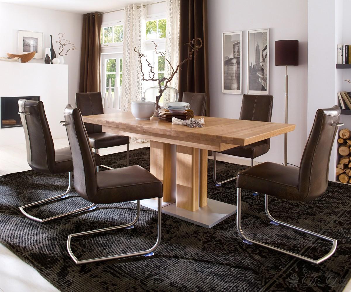esstisch berra 180 330x90 cm eiche massiv lackiert ausziehtisch s ulentisch neu ebay. Black Bedroom Furniture Sets. Home Design Ideas