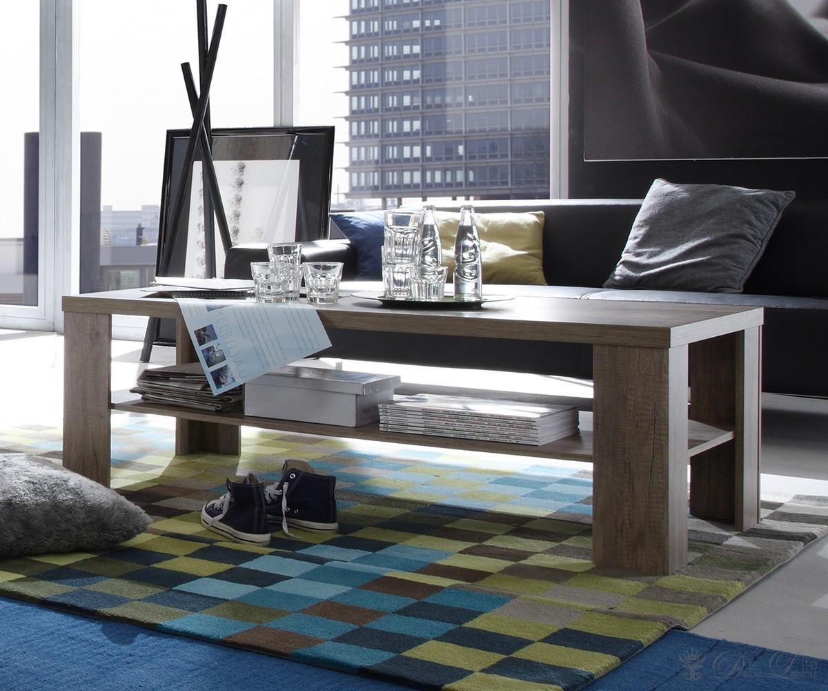 couchtisch mariel 130x65 cm eiche tr ffel dekor wohnzimmertisch sofa tisch neu ebay. Black Bedroom Furniture Sets. Home Design Ideas