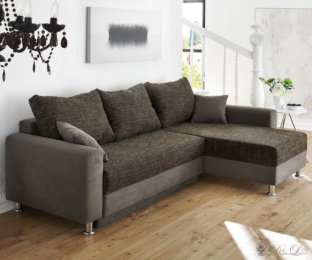 ecksofa cushy 235x160 cm grau braun couch mit. Black Bedroom Furniture Sets. Home Design Ideas