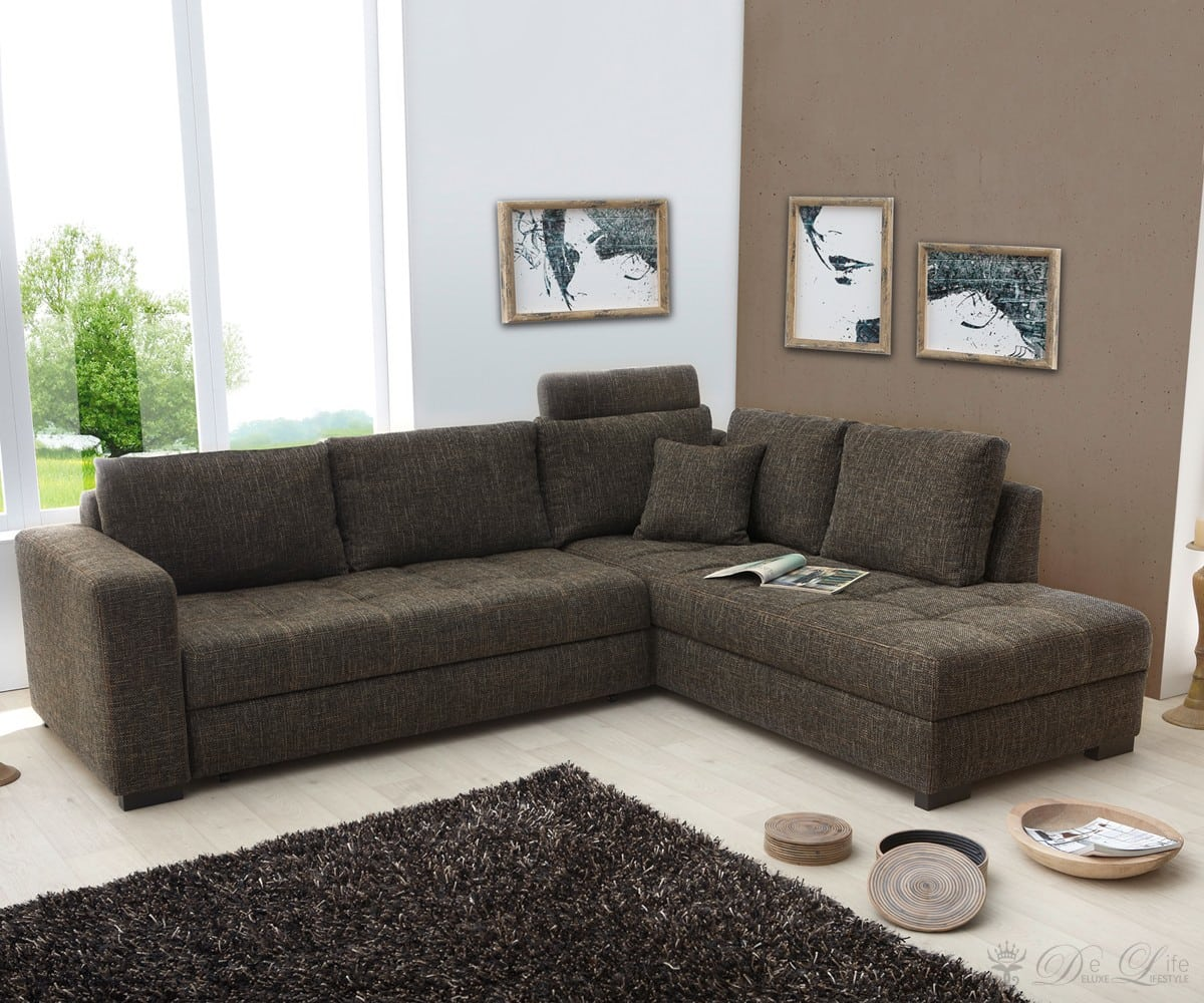 ecksofa adina 267x221 braun couch schlaffunktion ot li o re couchgarnitur sofa ebay. Black Bedroom Furniture Sets. Home Design Ideas