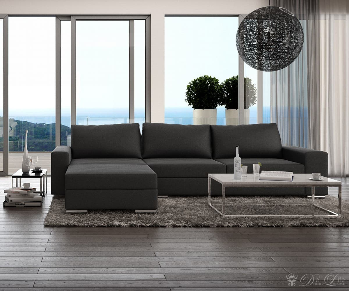 ecksofa zion 305x167 schwarz couch ottomane links couchgarnitur ecksofas sofa ebay. Black Bedroom Furniture Sets. Home Design Ideas