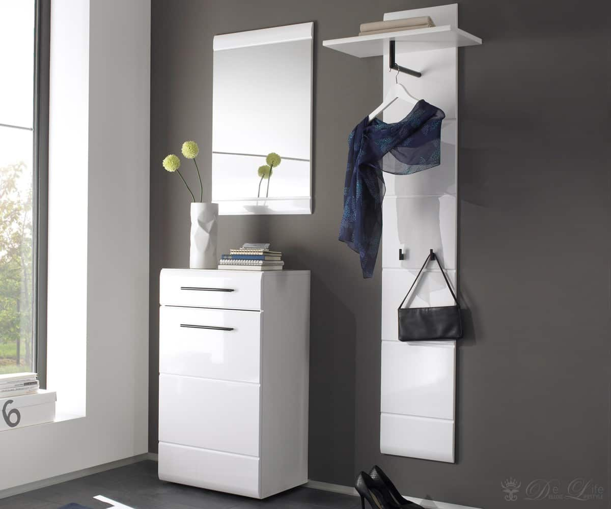 garderobe jesko 110cm weiss dielenm bel schuhschrank spiegel flureinrichtung neu ebay. Black Bedroom Furniture Sets. Home Design Ideas