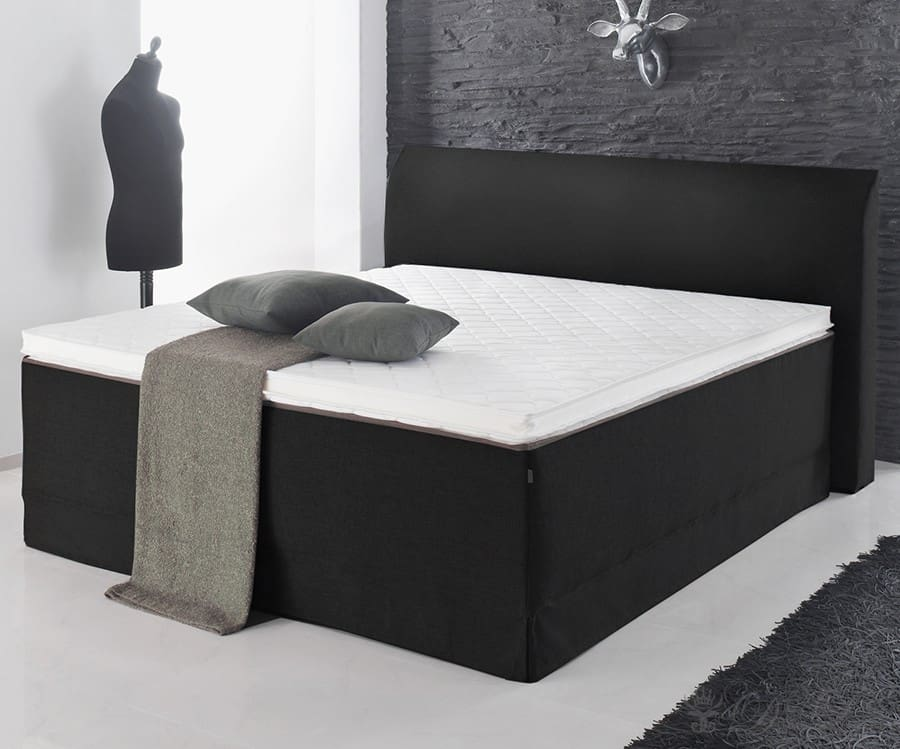boxspringbett svanja 180x200 anthrazit bett mit matratze topper doppelbett neu ebay. Black Bedroom Furniture Sets. Home Design Ideas