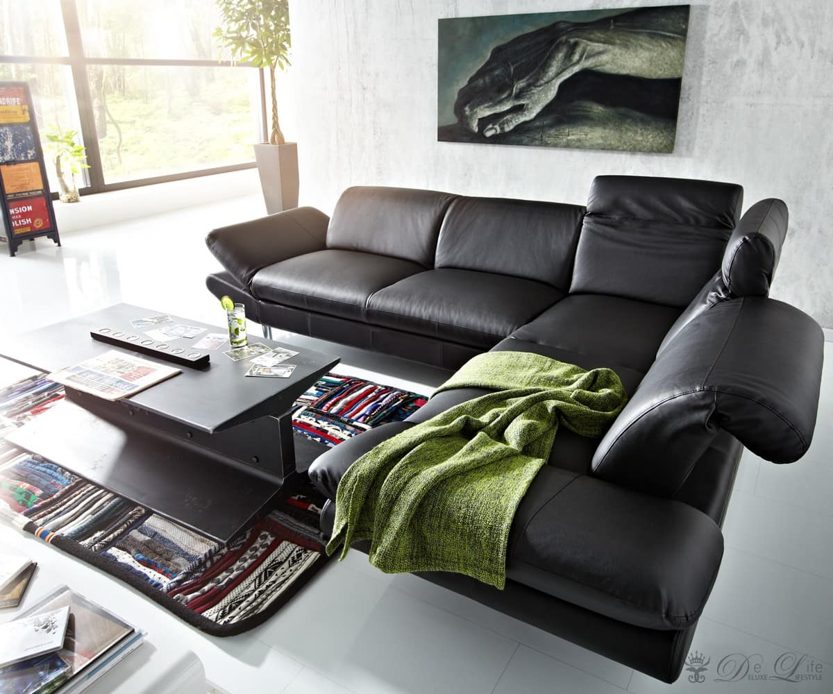 ecksofa octavio 275x220 schwarz couch verstellbare. Black Bedroom Furniture Sets. Home Design Ideas